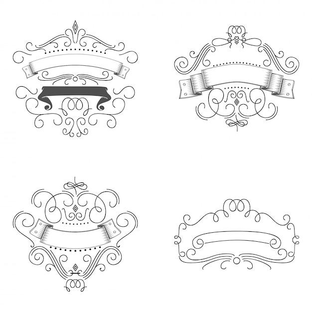 Logo's sjabloon bloeit kalligrafische elementen Premium Vector