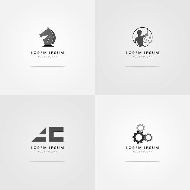 Logo's voor grijswaarden van advocaten Premium Vector
