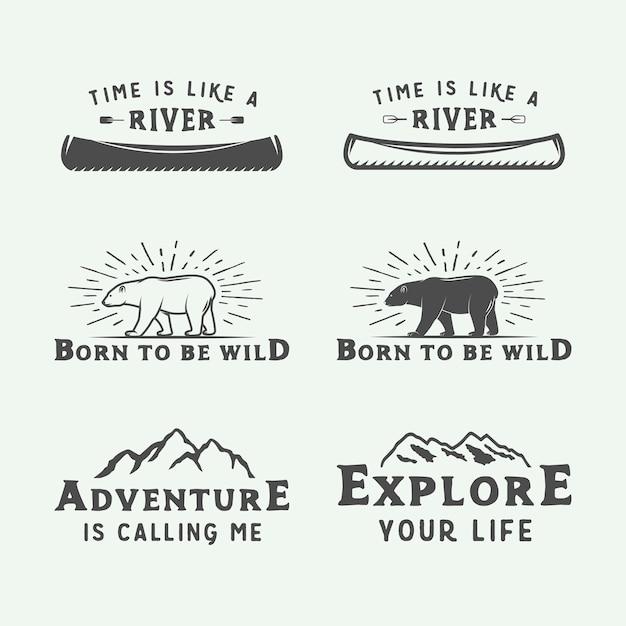 Logo's voor kamperen buiten en avontuur Premium Vector