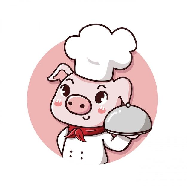 Logo schattig en vriendelijke varken chef-kok houdt een heerlijke biefstuk Premium Vector