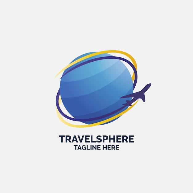 Logo sjabloon met globe en vliegtuig reizen Premium Vector