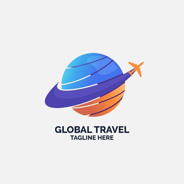 Logo sjabloon met vliegtuig en globe reizen Premium Vector