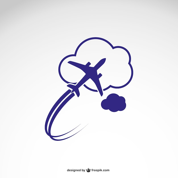 Logo sjabloon met vliegtuig Gratis Vector