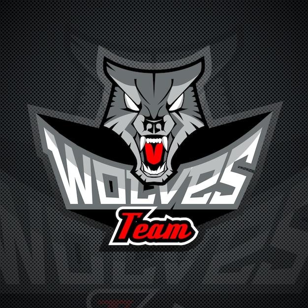 Logo sjabloon met wolf hoofd. Premium Vector