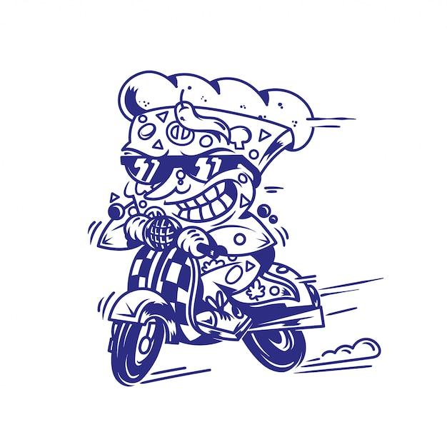 Logo symbool print gekke grote stuk pizza met hoge snelheid retro-scooter rijden en probeer de snelste levering straatvoedsel eet pizza moderne stijl illustratie stripfiguur geïsoleerde witte pagina. Premium Vector