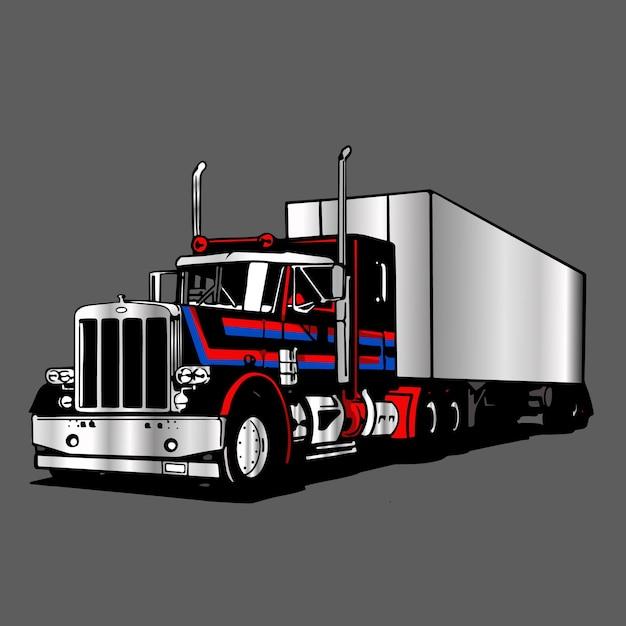 Logo truck trailer container grote afbeelding Premium Vector