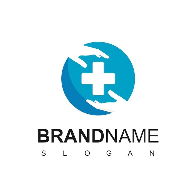 Logo van de medische zorg met hand en kruis symbool Premium Vector