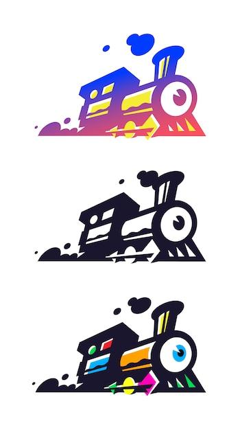Logo van de trein, locomotief. Premium Vector