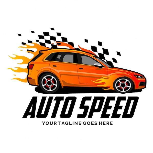 Logo van een snelheidsauto met inspiratie voor het ontwerp van de vlam Premium Vector