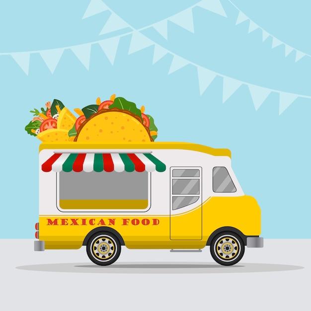 Logo van foodtruck voor snelle bezorgservice voor mexicaans eten of zomerfestival. Premium Vector