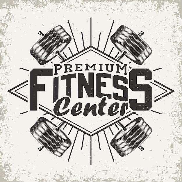 Logo van het fitnesscentrum Premium Vector