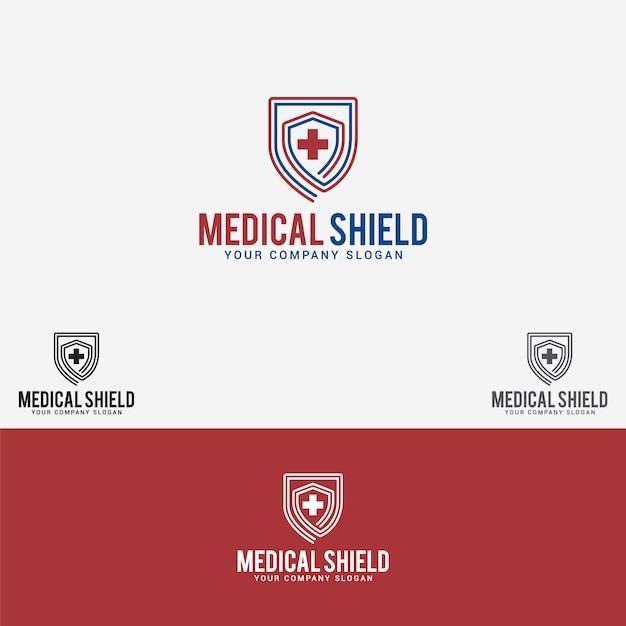 Logo van het medische schild Premium Vector