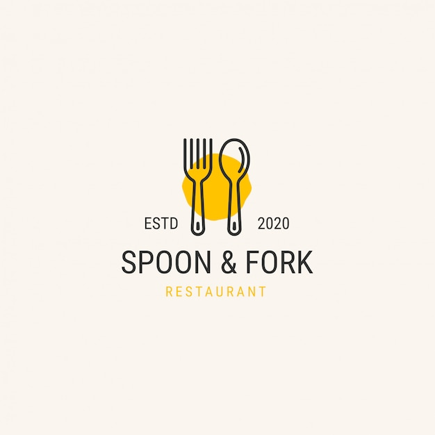 Logo van het restaurant. lepel en vork logo concept Premium Vector
