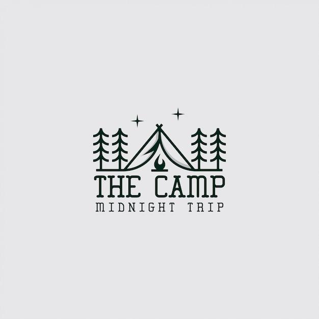 Logo van kamp met lijntekeningen Premium Vector