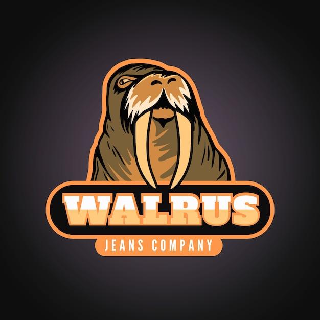 Logo van mascotte met walrus Gratis Vector