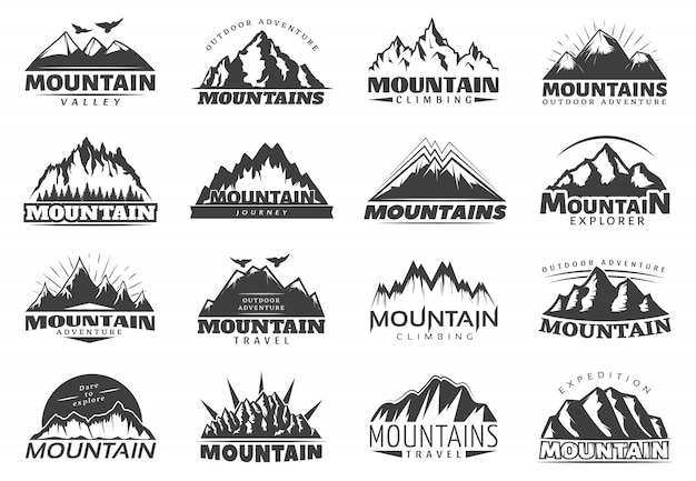 Logo van mountain travel Gratis Vector
