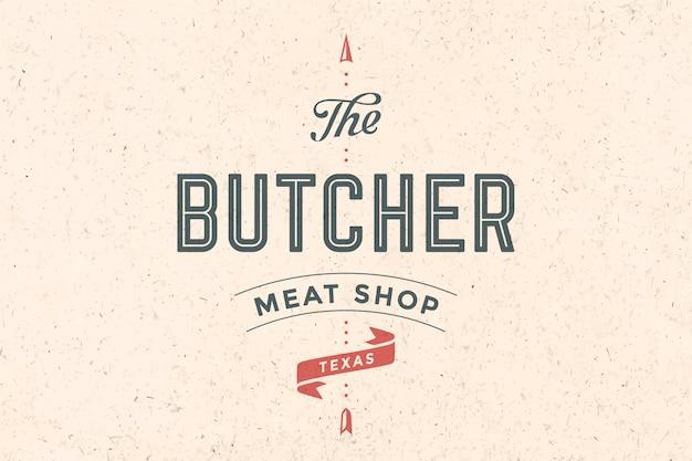 Logo van slagerij vlees winkel Premium Vector