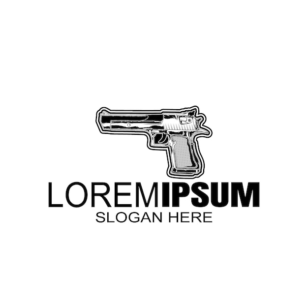 Logo vintage stijl pistool logo sjabloon. Premium Vector
