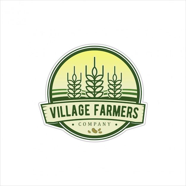 Logo-vintage voor dorpshoofden Premium Vector