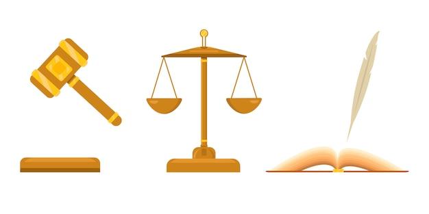 Logo voor advocatenkantoor. schalen voor recht en rechtvaardigheid. open boek met pen, veer. gerechtelijke hamer met gouden elementen. Premium Vector