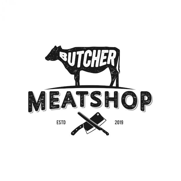 Logo voor angus / veehouderijen en voor vleeswinkels Premium Vector