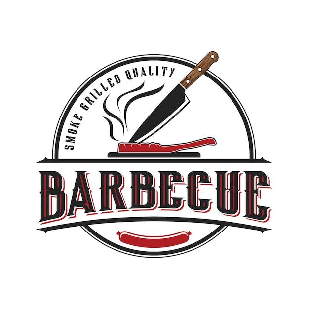 Logo voor een barbecuerestaurant met een vintage stijl Premium Vector
