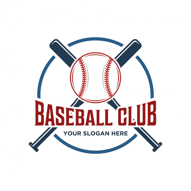 Logo voor een honkbalclub met een vintage model Premium Vector