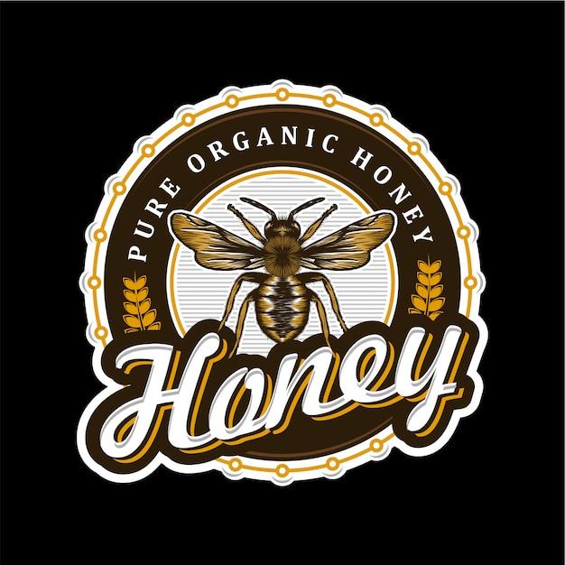 Logo voor honingproducten of honingbijkwekerijen Premium Vector