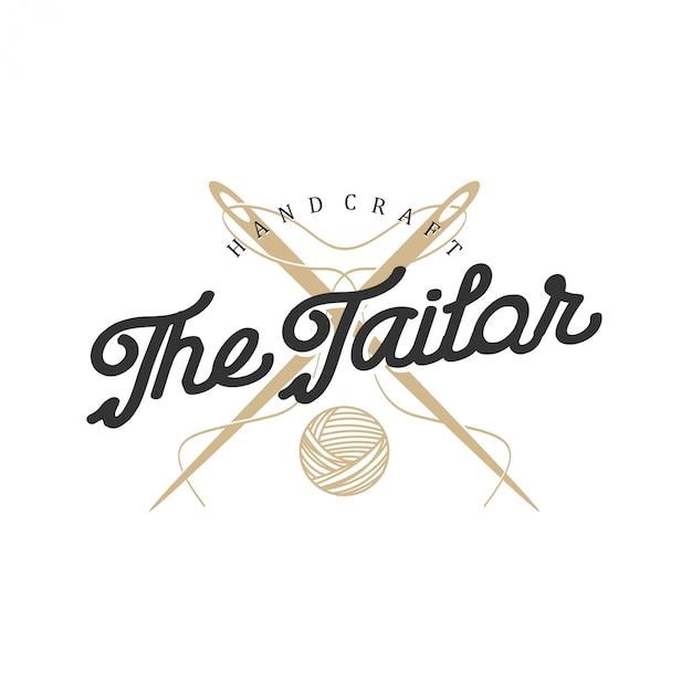 Logo voor kleermakers in vintage stijl met naald- en draadelementen Premium Vector