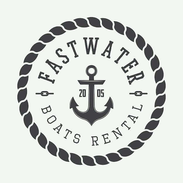 Logo voor raften of bootverhuur Premium Vector