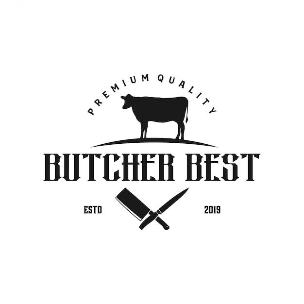 Logo voor rundvleeshandel met meselementen Premium Vector