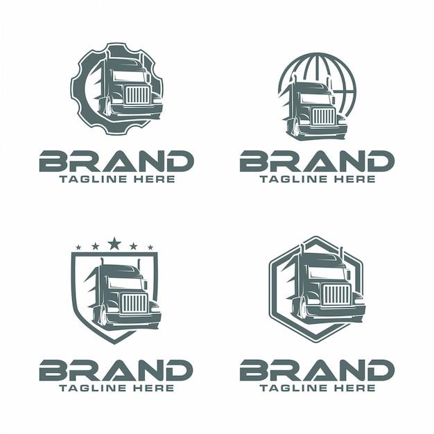 Logo voor semi-vrachtwagens Premium Vector