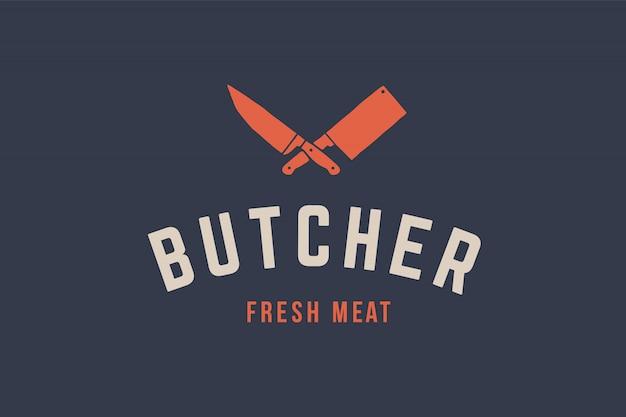 Logo voor slagerijvlees Premium Vector