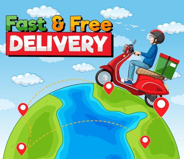 Logo voor snelle en gratis bezorging met fietsman of koerier die op de aarde rijdt Gratis Vector
