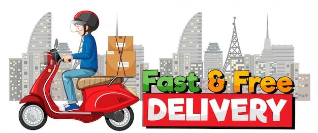 Logo voor snelle en gratis bezorging met fietsman of koerier in de stad Gratis Vector