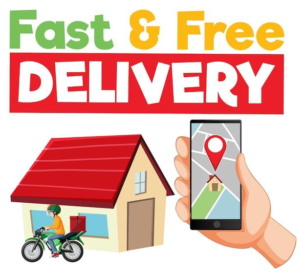 Logo voor snelle en gratis bezorging met smartphone Gratis Vector