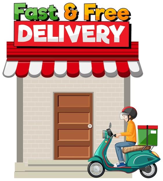 Logo voor snelle en gratis bezorging Gratis Vector