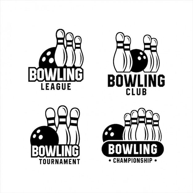 Logos championship tournament bowling set Premium Vector