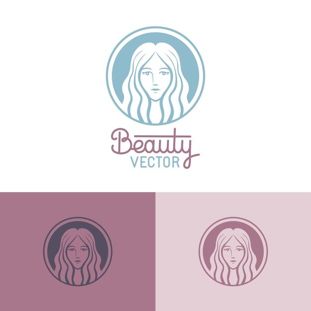 Logosjabloon in trendy lineaire stijl Premium Vector