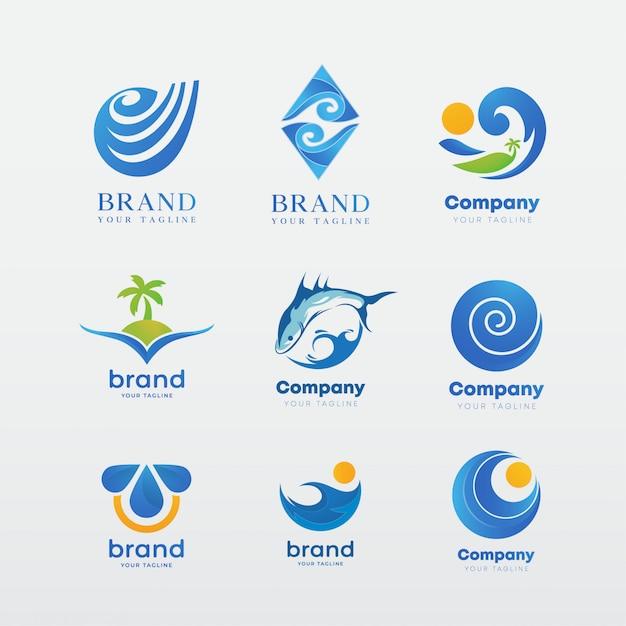 Logotype-sjabloonenset, identiteitsinspiratie Premium Vector