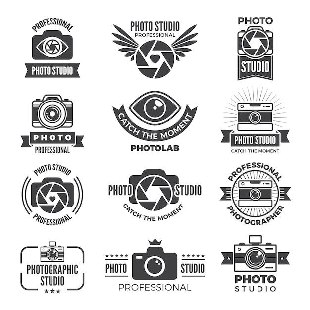 Logotypes en symbolen van fotostudio's Premium Vector