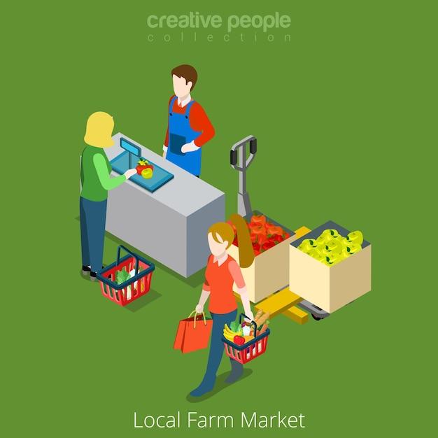 Lokale boerderij markt winkel verkoop winkelen platte 3d isometrie isometrische website concept illustratie Gratis Vector