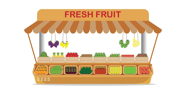Lokale fruitmarkt fruitwinkel met vers fruit in houten kist. Premium Vector