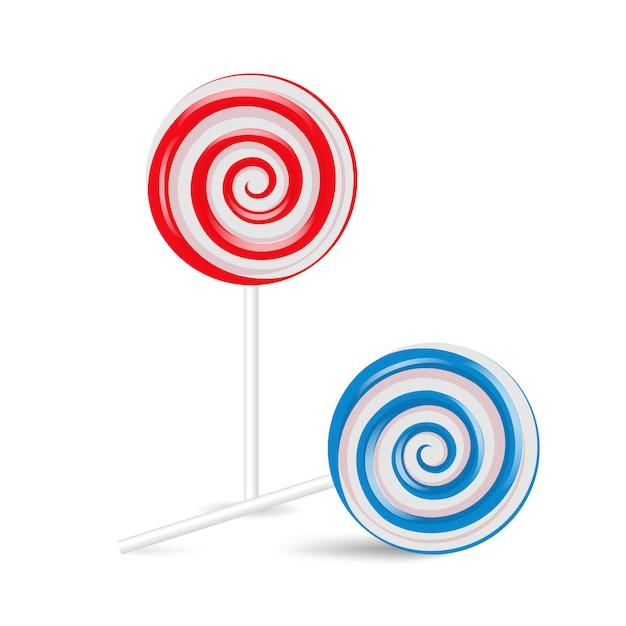 Lollipop swirl set, gekleurd suikersuikergoed Premium Vector