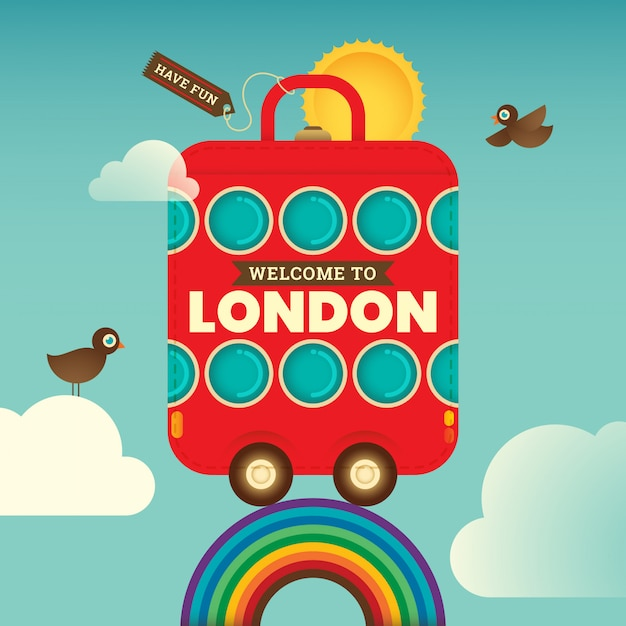 Londen achtergrond reizen Premium Vector
