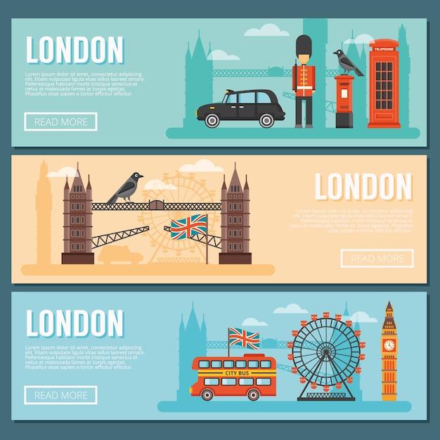 Londen banner set Gratis Vector