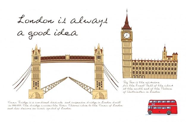 Londen kaart illustratie Gratis Vector