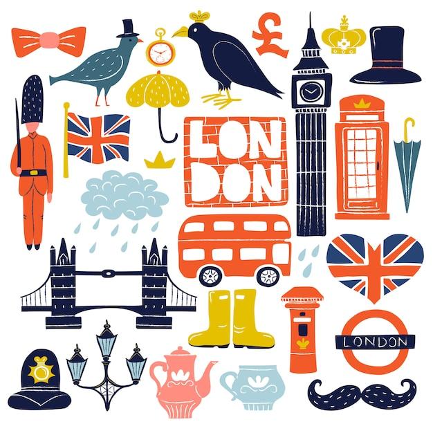 Londen oriëntatiepunten ingesteld Gratis Vector
