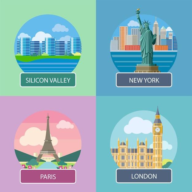 Londen, silicon valley, new york en parijs Premium Vector