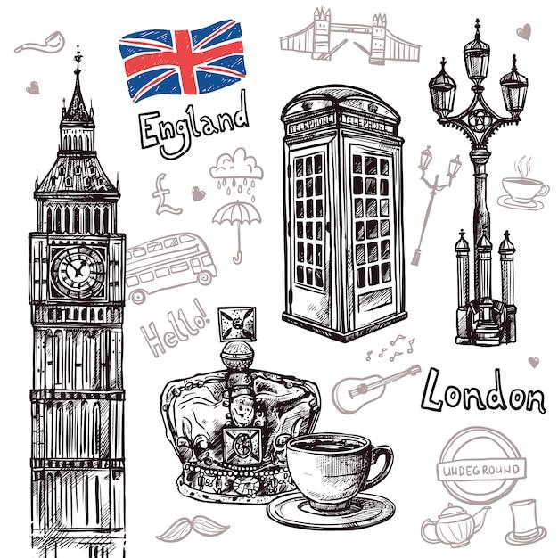 London sketch set Gratis Vector